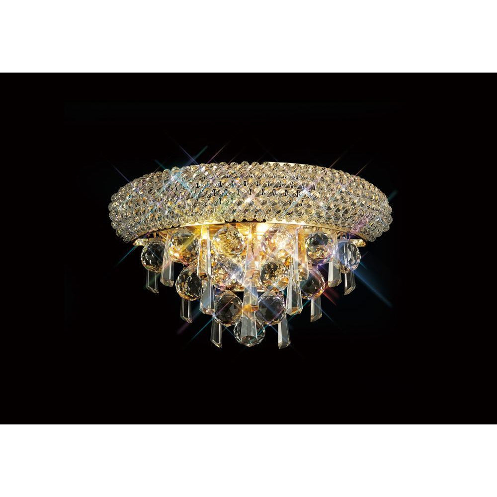 Rosy Brown Diyas IL32100 Alexandra Wall Lamp Small 2 Light French Gold/Crystal