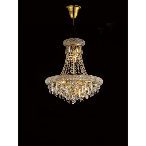 Rosy Brown Diyas IL32110 Alexandra Pendant 9 Light French Gold/Crystal