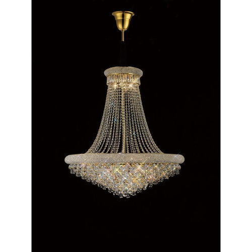 Rosy Brown Diyas IL32112 Alexandra Pendant 18 Light French Gold/Crystal
