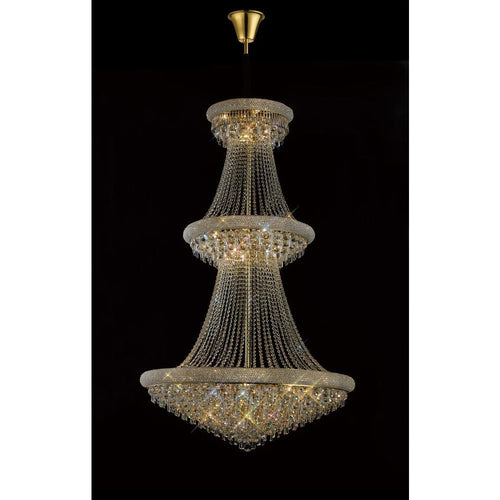 Dim Gray Diyas IL32114 Alexandra Pendant 3 Tier 29 Light French Gold/Crystal
