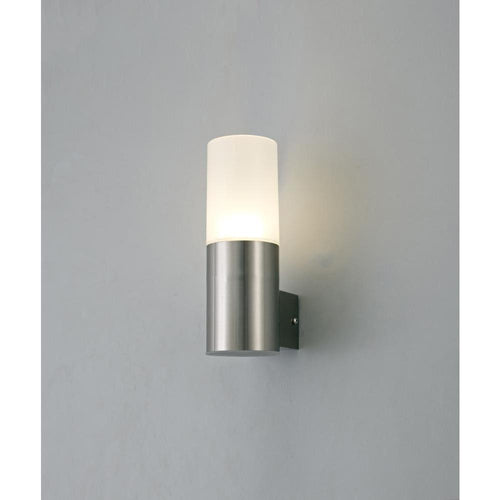 Dark Gray Deco D0261 Alpin Upward Lighting Cylinder Wall Lamp, 10W LED IP44, Ext and Interior, 4000K, Stainless Steel  and Frosted Polycarbonate Diffuser