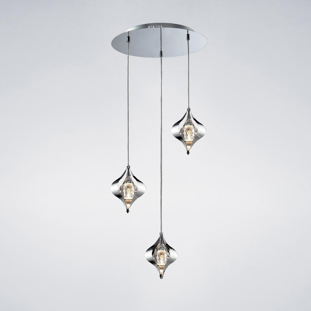 White Smoke Diyas IL30584 Amano Pendant Round 3 Light Polished Chrome/Crystal