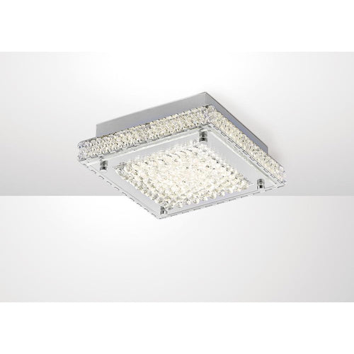 Gray Diyas IL80070 Amelia Ceiling 12W 1200lm LED 4000K Stainless Steel/Crystal