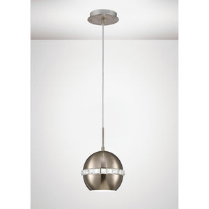 Lavender Diyas IL31612 Andrea Single Pendant 1 Light E27 Satin Nickel/Crystal