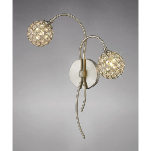 Gray Diyas IL20680 Apollo Wall Lamp 2 Light Satin Nickel/Crystal