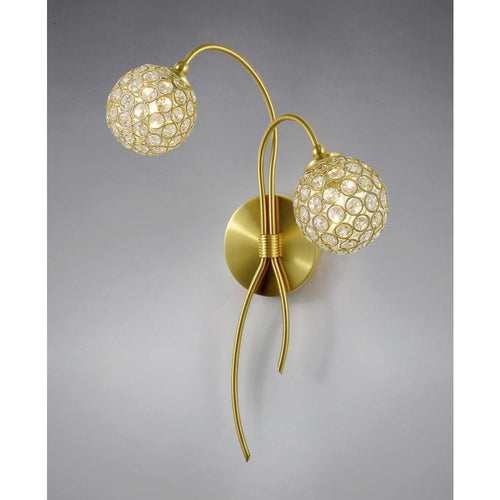 Dark Khaki Diyas IL20690 Apollo Wall Lamp 2 Light Satin Brass/Crystal