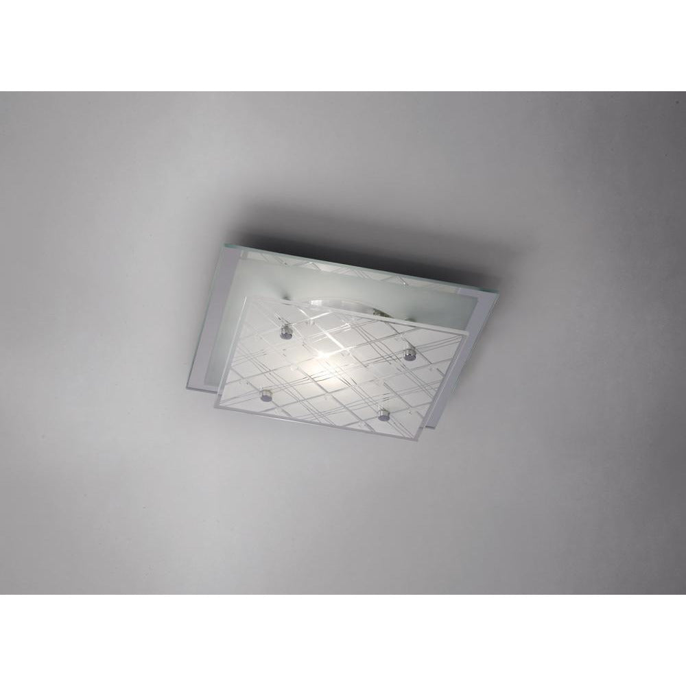 Gray Diyas IL31281 Aries Ceiling Square 1 Light Small Polished Chrome/Glass