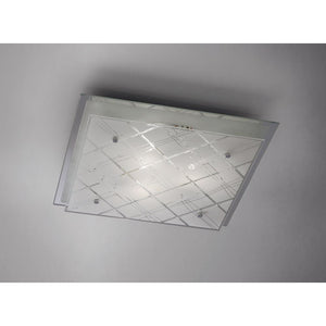 Gray Diyas IL31283 Aries Ceiling Square 3 Light Large Polished Chrome/Glass