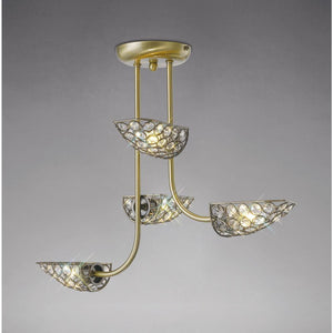 Dark Gray Diyas IL20701 Ashton Semi Ceiling 4 Light Antique Brass/Crystal
