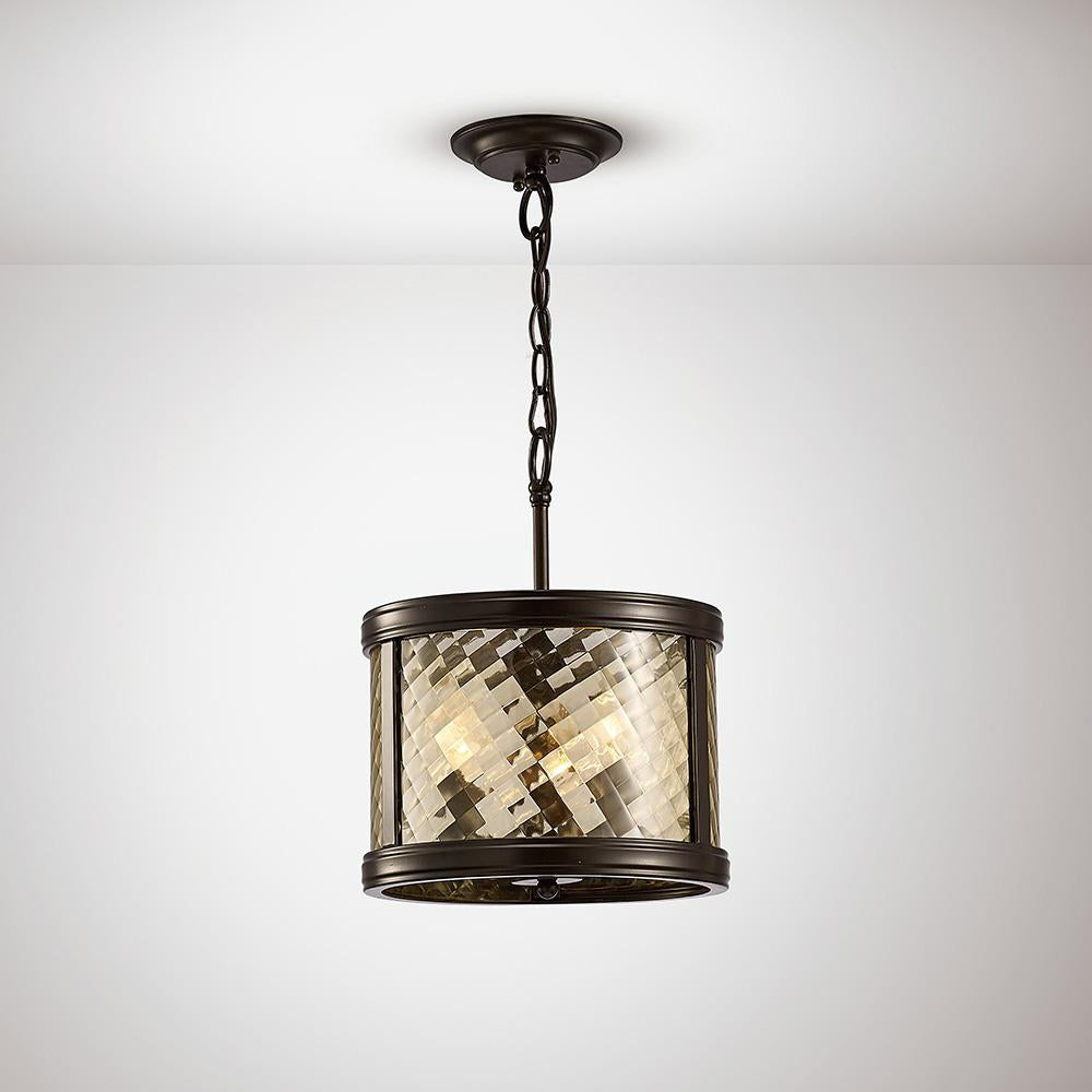 White Smoke Diyas IL31676 Asia Pendant/Semi Ceiling Convertible 3 Light E14 Oiled Bronze/Clear Glass