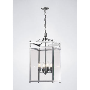 Lavender Diyas IL31103 Aston Pendant 4 Light Polished Chrome/Glass
