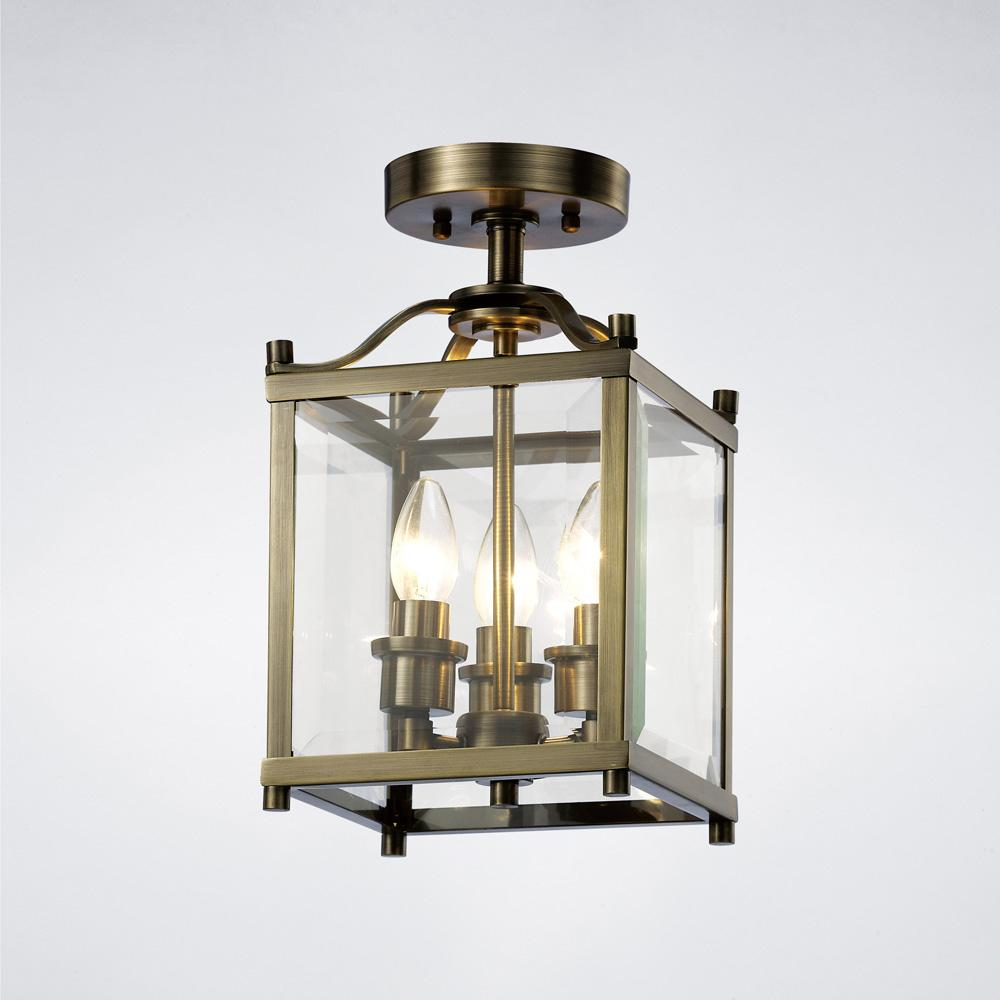 Dim Gray Diyas IL31110 Aston Semi Ceiling 3 Light Antique Brass/Glass diyas-il31110-aston-semi-ceiling-3-light-antique-brass-glass Aston