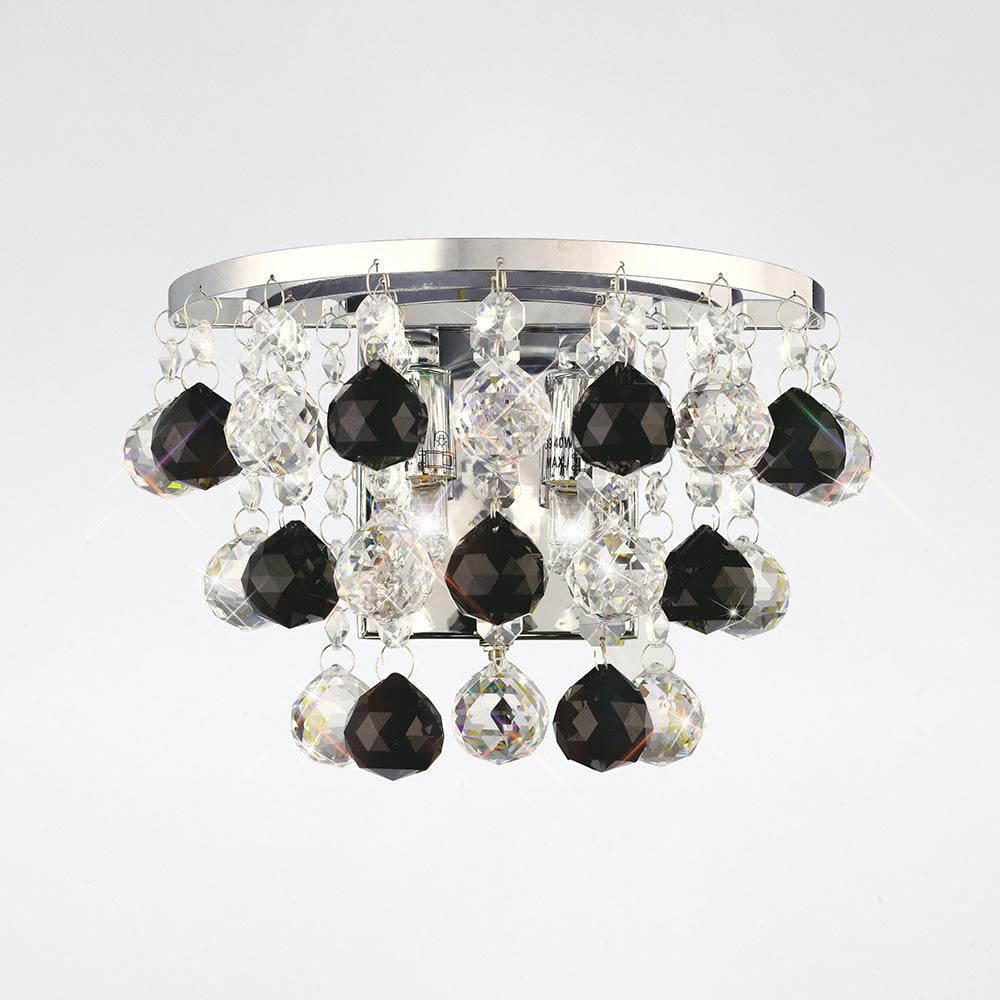 Gray Diyas IL30014BL Atla Wall Lamp Switched 2 Light Polished Chrome/Crystal/Supplied With 9 Additional Black Crystal Spheres