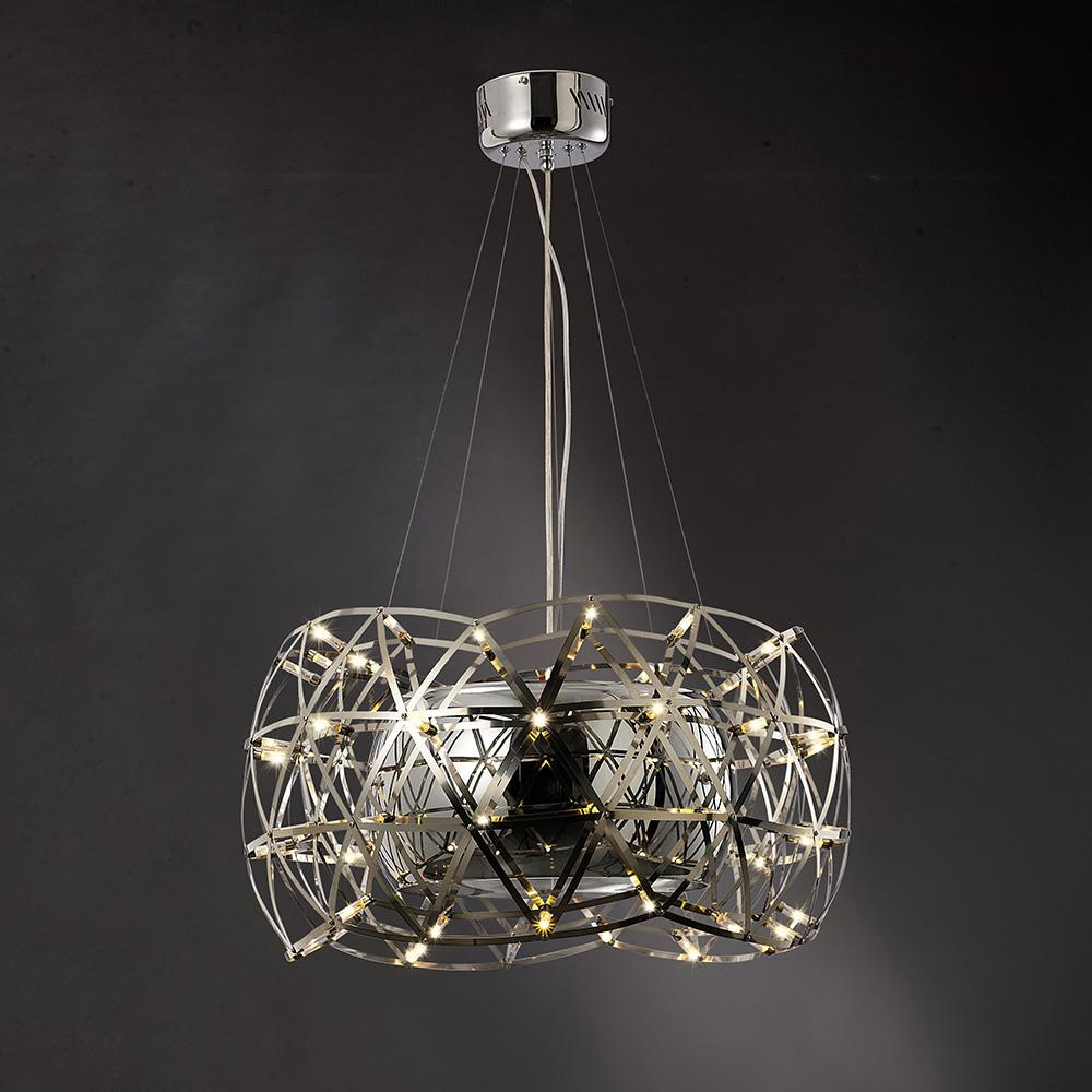 Dark Slate Gray Diyas IL30792  Atria Pendant 4 Light With LEDs And Remote Control Stainless Steel diyas-il30792-atria-pendant-4-light-with-leds-and-remote-control-stainless-steel Atria