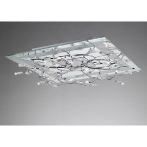 Gray Diyas IL30632  Aurora Ceiling Square 6 Light With RGB LEDs Polished Chrome/Crystal