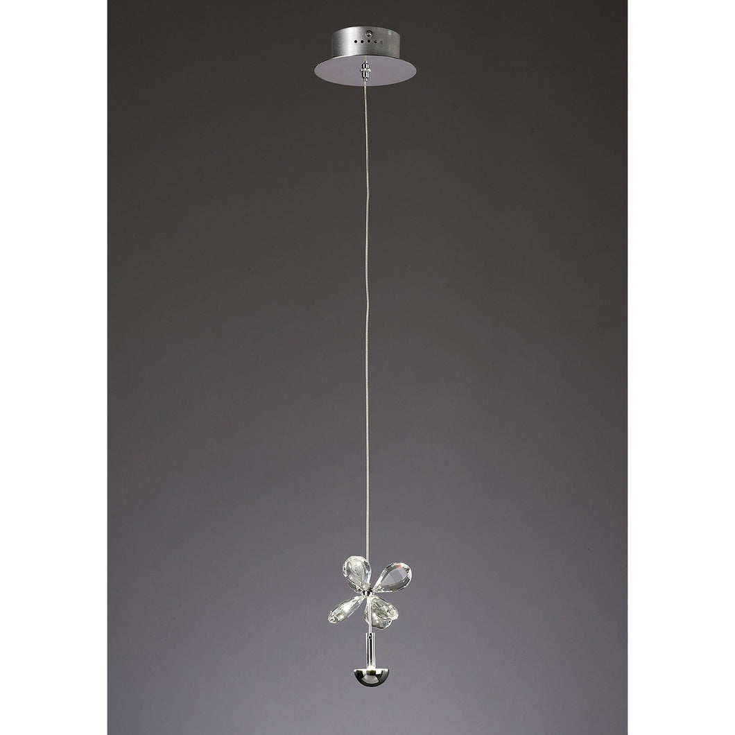 Dim Gray Diyas IL31140 Aviva Pendant 1 Light 4000K LED Polished Chrome/Crystal