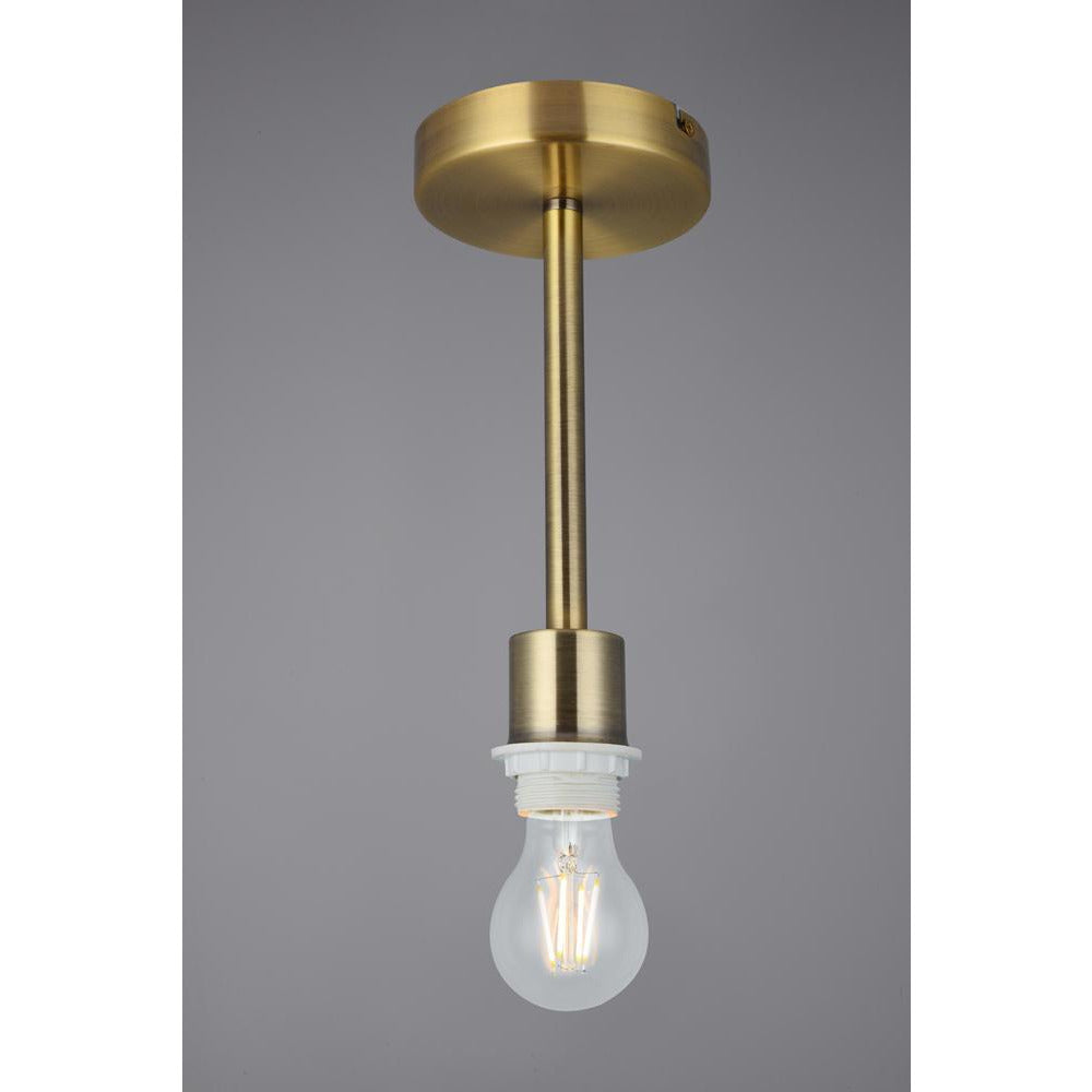 Light Slate Gray Deco D0331 Baymont Antique Brass 1 Light E27 Universal Semi Ceiling Fixture, Suitable For A Vast Selection Of Shades