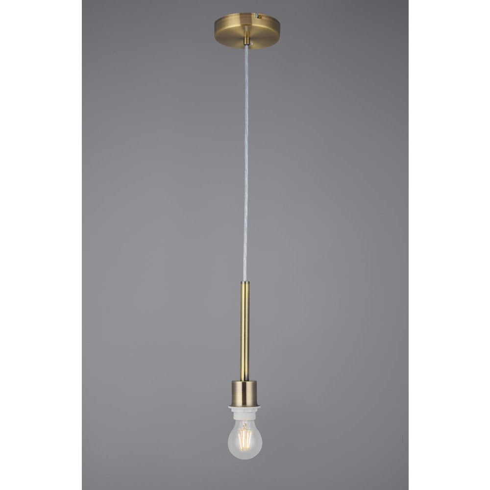 Light Slate Gray Deco D0334 Baymont Antique Brass 1 Light E27 Universal 3m Single Pendant, Suitable For A Vast Selection Of Shades