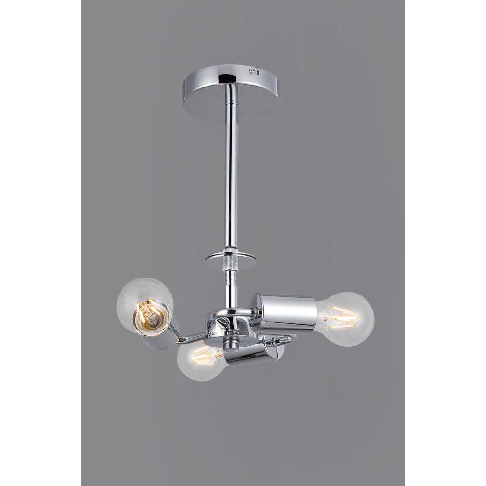 Slate Gray Deco D0336 Baymont Polished Chrome 3 Light E27 Universal Semi Ceiling Fixture, Suitable For A Vast Selection Of Shades