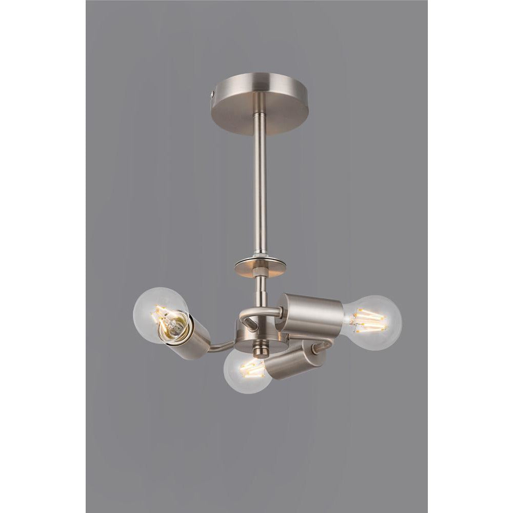 Slate Gray Deco D0338 Baymont Satin Nickel 3 Light E27 Universal Semi Ceiling Fixture, Suitable For A Vast Selection Of Shades