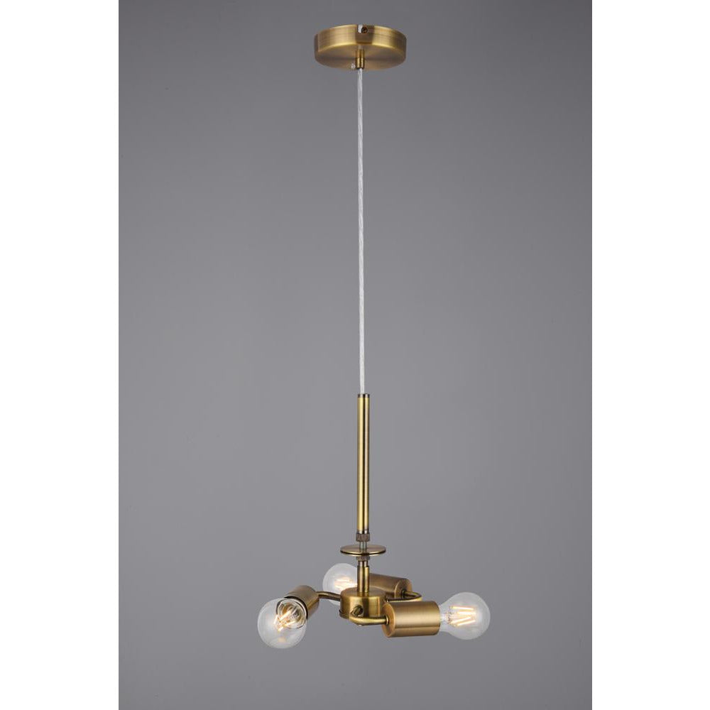 Light Slate Gray Deco D0340 Baymont Antique Brass 3m 3 Light E27 Universal Single Pendant, Suitable For A Vast Selection Of Shades