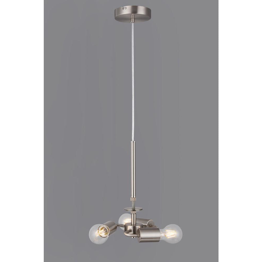 Light Slate Gray Deco D0341 Baymont Satin Nickel 3m 3 Light E27 Universal Single Pendant, Suitable For A Vast Selection Of Shades