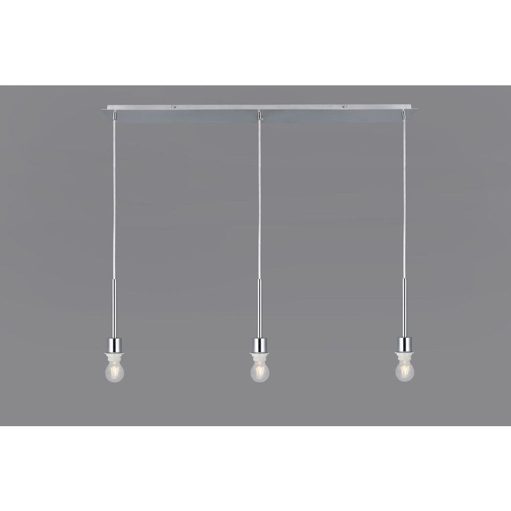 Light Slate Gray Deco D0342 Baymont Polished Chrome 3 Light E27 3m Linear Pendant, Suitable For A Vast Selection Of Shades