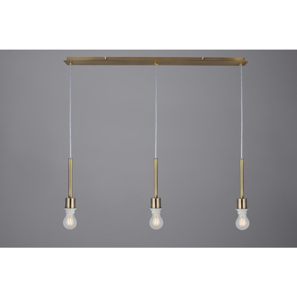 Light Slate Gray Deco D0343 Baymont Antique Brass 3 Light E27 3m Linear Pendant, Suitable For A Vast Selection Of Shades
