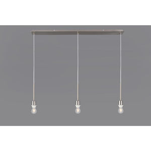 Light Slate Gray Deco D0344 Baymont Satin Nickel 3 Light E27 3m Linear Pendant, Suitable For A Vast Selection Of Shades