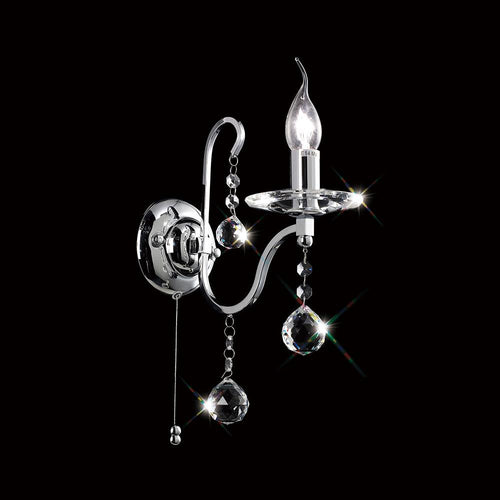 Black Diyas IL30111 Bianco Wall Lamp Switched 1 Light Polished Chrome/Crystal