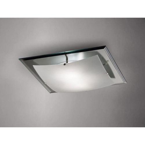 Dark Gray Deco D0016 Brooklyn Ceiling, 420mm Square, 3 Light E27 Frosted and Smoked Mirror