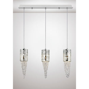 White Smoke Diyas IL31625 Camden Pendant 3 Light G9 Line Polished Chrome/Mosaic Glass/Crystal diyas-il31625-camden-pendant-3-light-g9-line-polished-chrome-mosaic-glass-crystal Camden