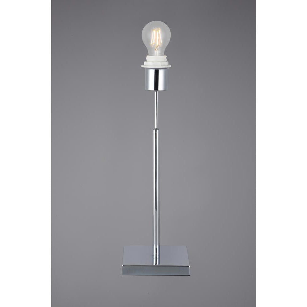 Light Slate Gray Deco D0346 Camino Square Base Small Table Lamp Without Shade, Inline Switch, 1 Light E27 Polished Chrome