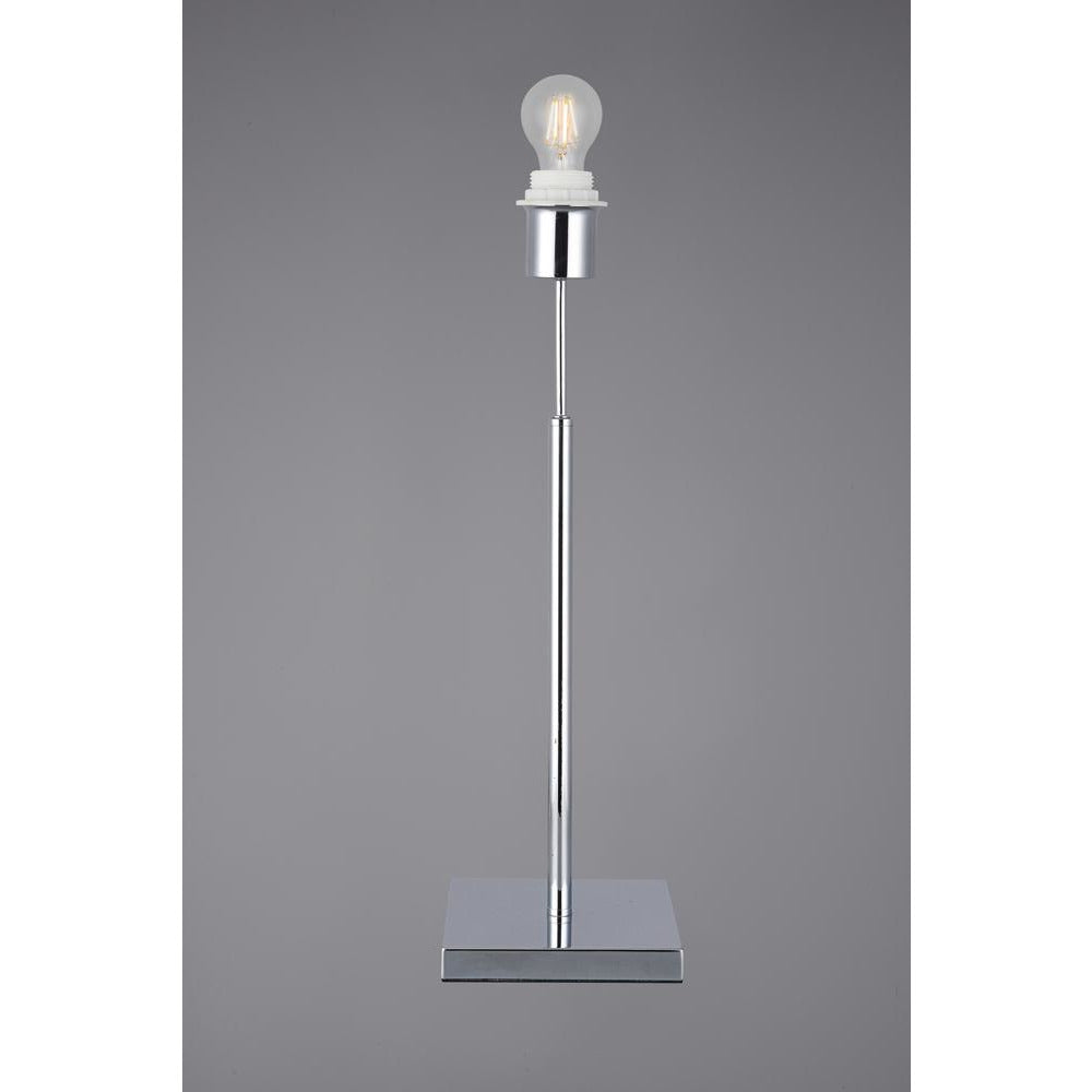 Light Slate Gray Deco D0347 Camino Square Base Medium Table Lamp Without Shade, Inline Switch, 1 Light E27 Polished Chrome