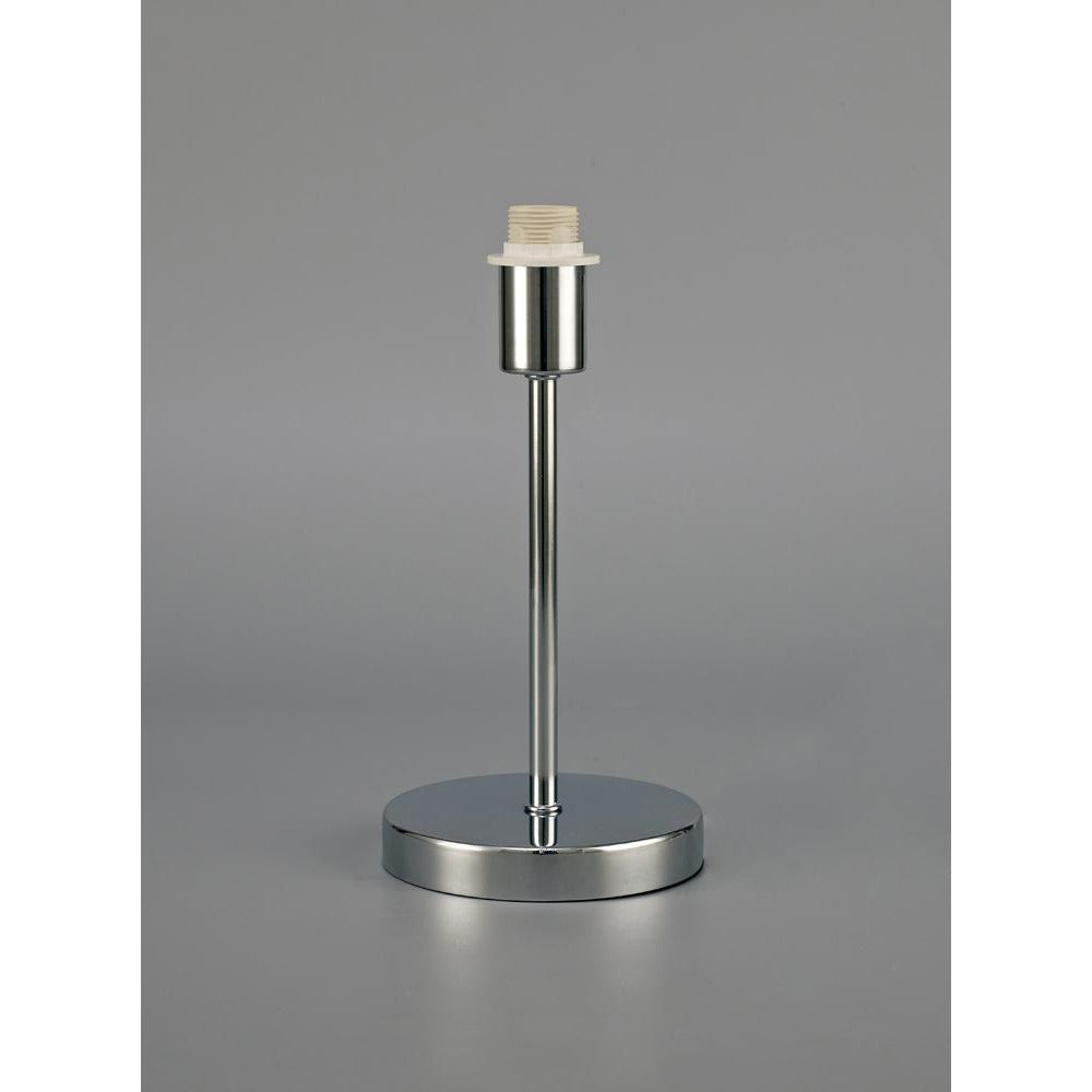 Light Slate Gray Deco D0363 Cedar Round Base Small Table Lamp Without Shade, Inline Switch, 1 Light E14 Polished Chrome