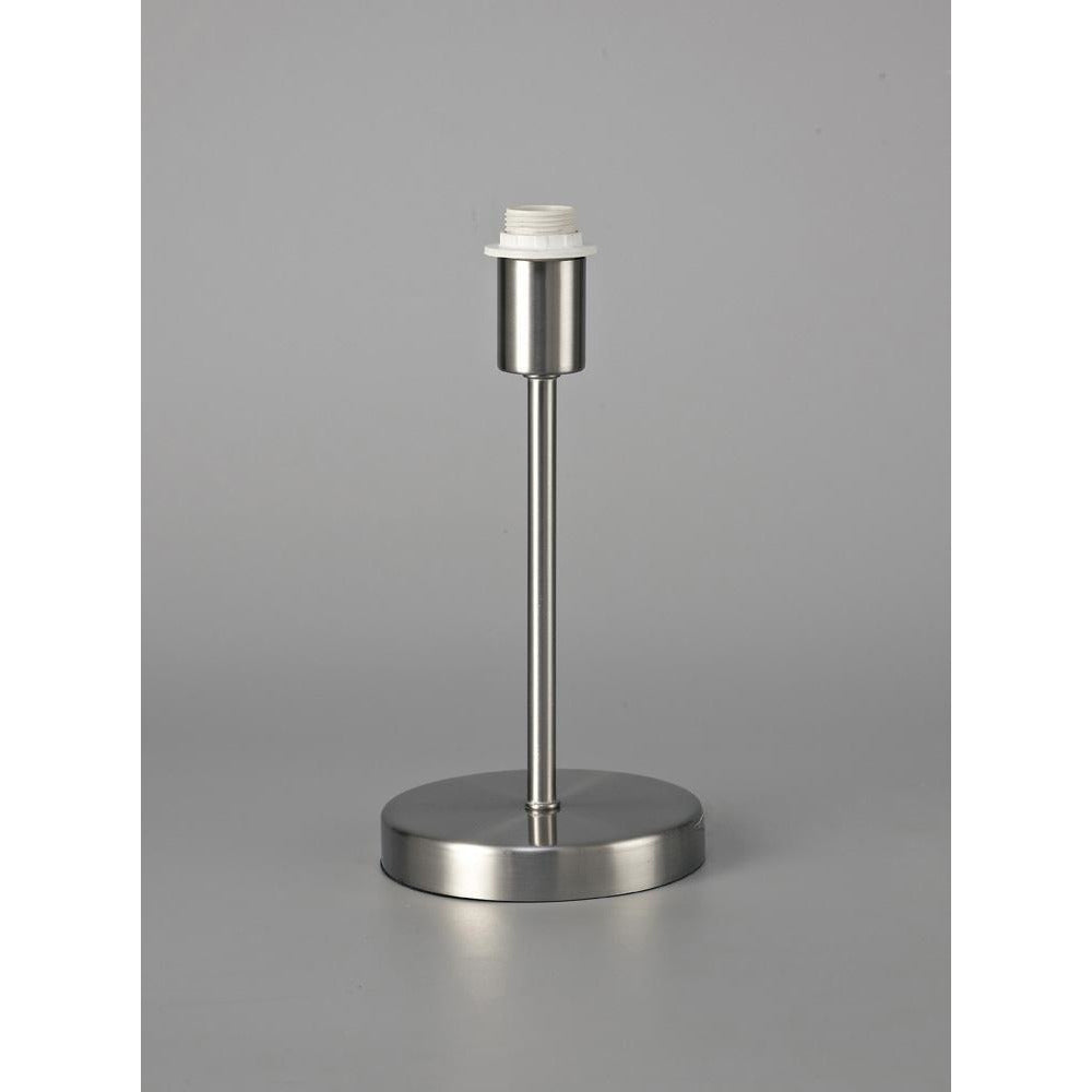 Dark Gray Deco D0365 Cedar Round Base Small Table Lamp Without Shade, Inline Switch, 1 Light E14 Satin Nickel