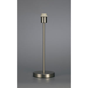 Slate Gray Deco D0368 Cedar Round Base Medium Table Lamp Without Shade, Inline Switch, 1 Light E27 Satin Nickel