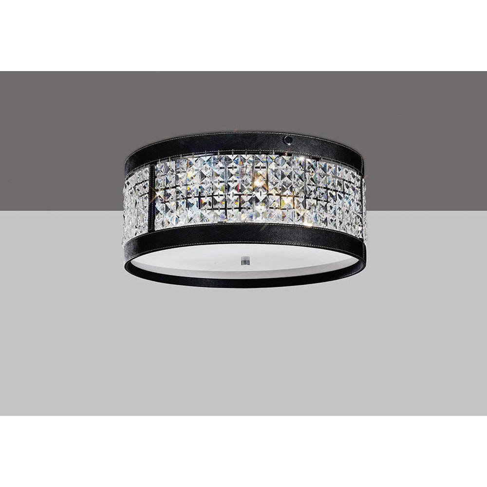 Gray Diyas IL31031 Celsa Ceiling 4 Light Polished Chrome/Black Faux Leather/Crystal