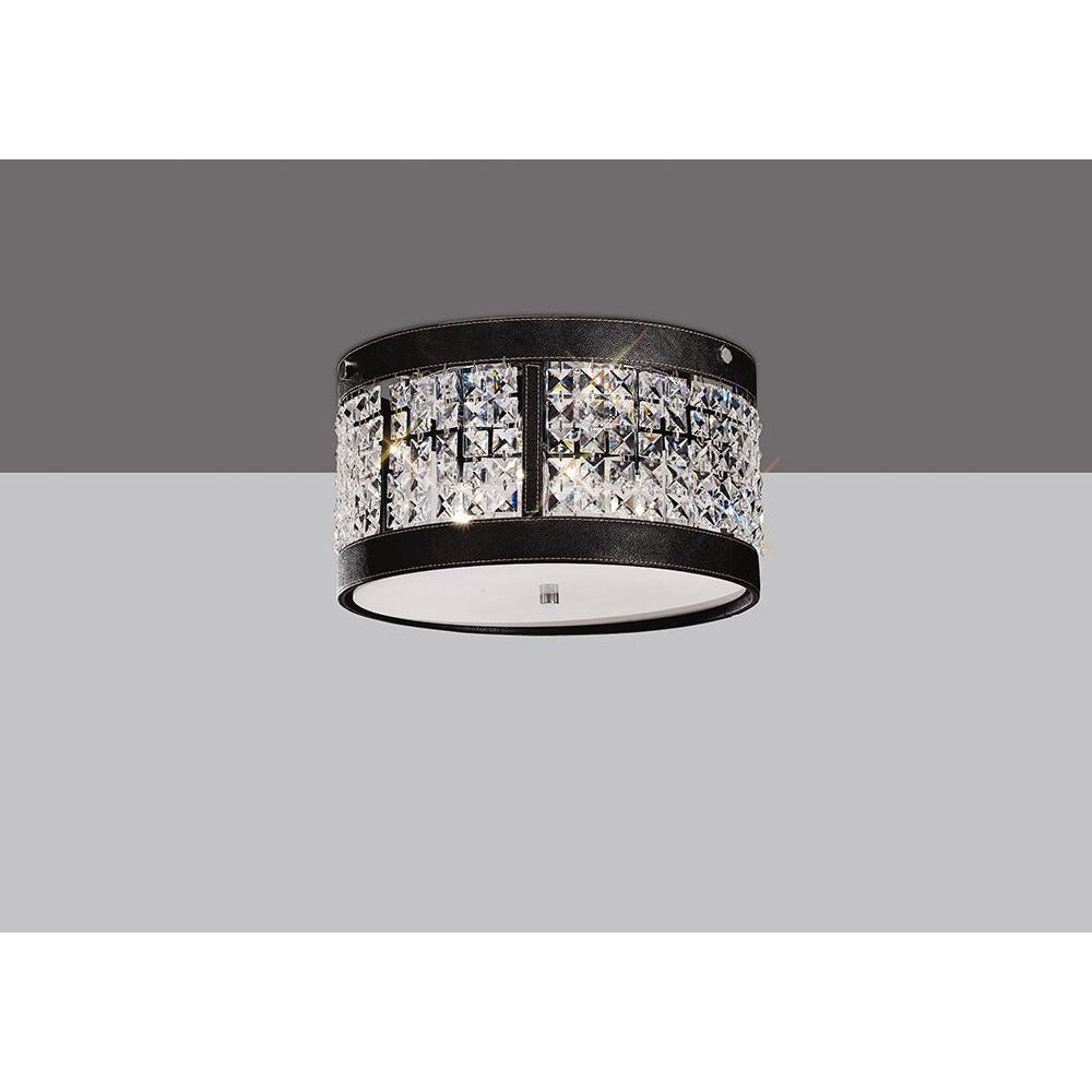 Gray Diyas IL31040 Celsa Ceiling 3 Light Polished Chrome/Dark Brown Faux Leather/Crystal