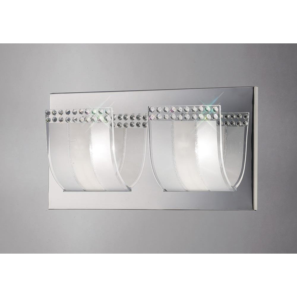 Gray Diyas IL31291 Charis Wall Lamp Switched 2 Light Polished Chrome/Glass/Crystal