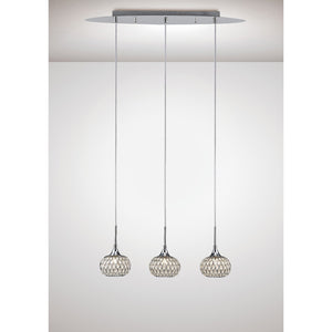 Lavender Diyas IL31504 Chelsie Pendant 3 Light Line Polished Chrome/Clear Glass