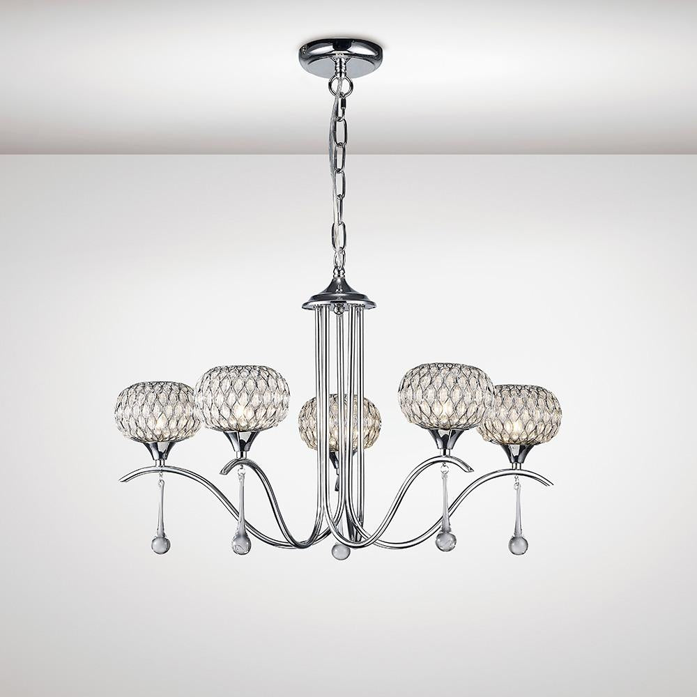 Gray Diyas IL31506 Chelsie Pendant 5 Light Polished Chrome/Clear Glass