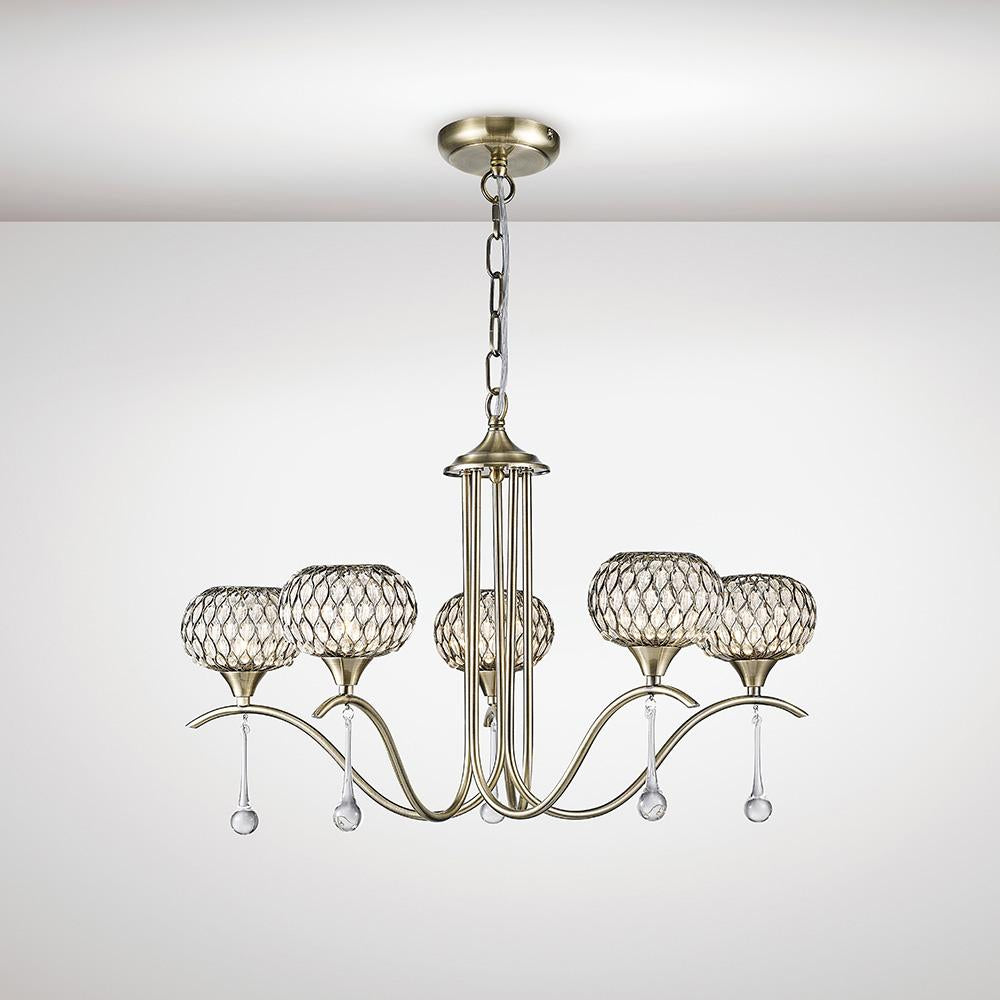 White Smoke Diyas IL31516 Chelsie Pendant 5 Light Antique Brass/Clear Glass