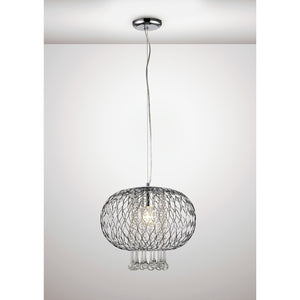 White Smoke Diyas IL31521 Chelsie Large Pendant 1 Light Polished Chrome/Clear Glass