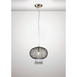 White Smoke Diyas IL31522 Chelsie Medium Pendant 1 Light Antique Brass/Clear Glass