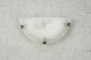 Dark Sea Green Deco D0391 Chester 1 Light E27 Flush Wall Lamp, Polished Brass With Frosted Alabaster Glass