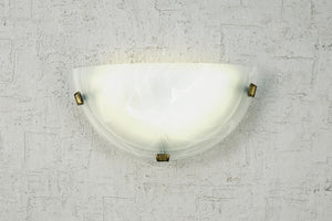Beige Deco D0391 Chester 1 Light E27 Flush Wall Lamp, Polished Brass With Frosted Alabaster Glass