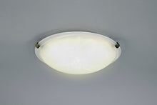 Load image into Gallery viewer, Antique White Deco D0392 Chester 2 Light E27 Flush Ceiling 300mm Round, Polished Brass With Frosted Alabaster Glass deco-d0392-chester-2-light-e27-flush-ceiling-300mm-round-polished-brass-with-frosted-alabaster-glass