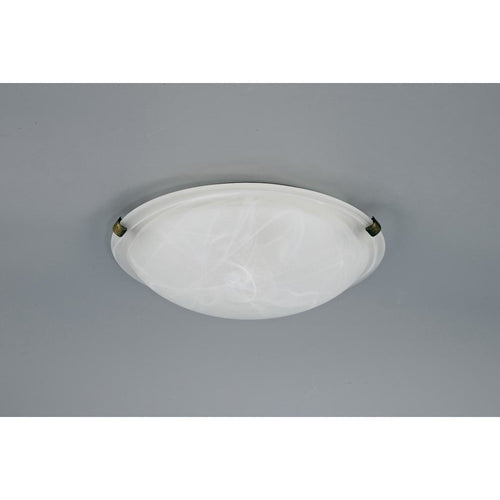 Light Gray Deco D0392 Chester 2 Light E27 Flush Ceiling 300mm Round, Polished Brass With Frosted Alabaster Glass