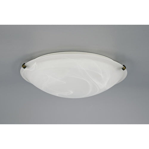 Light Gray Deco D0393 Chester 3 Light E27 Flush Ceiling 400mm Round, Polished Brass With Frosted Alabaster Glass